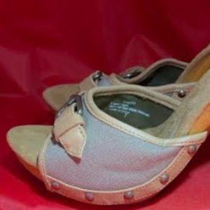 Audrey Brooke Canvas Slide Sandal Sz 7